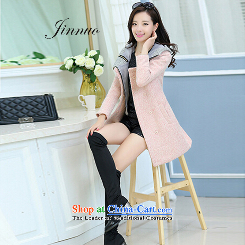 El Yue autumn and winter coats of Korean new large decorated in video thin girl in female long wool a overcoats wind jacket 2014 sweet lovely preppy pink燣