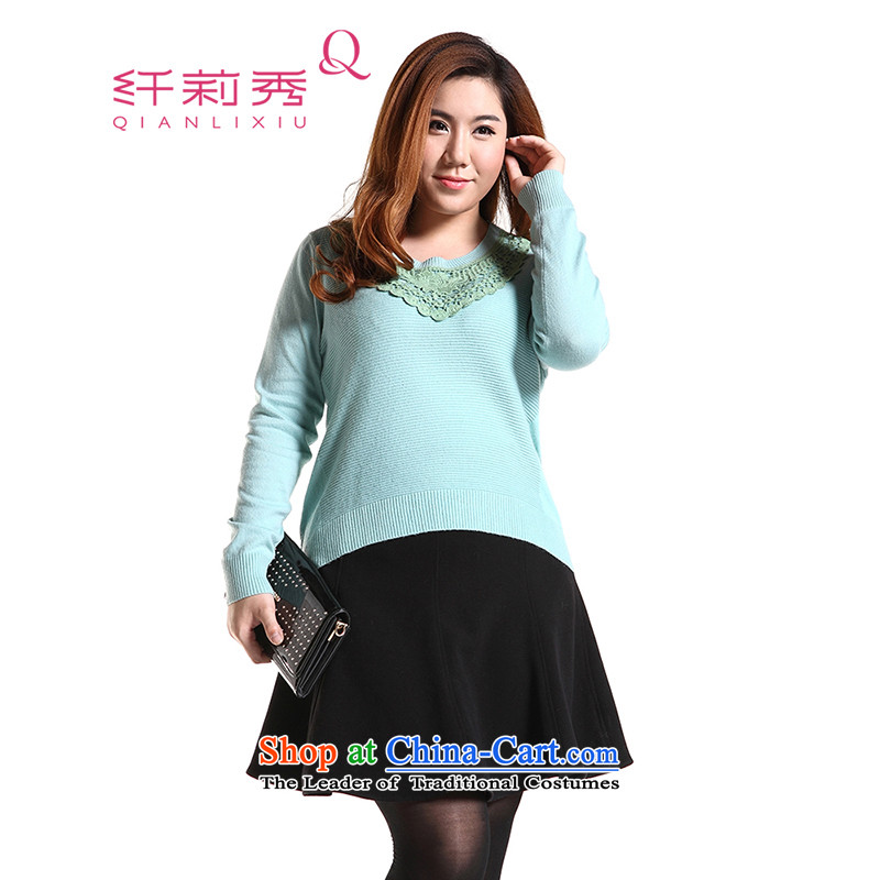 The former Yugoslavia Li Sau 2014 autumn and winter new larger female lace long-sleeved video thin hedge forming the Netherlands knitted sweaters Q6026 light blueXL