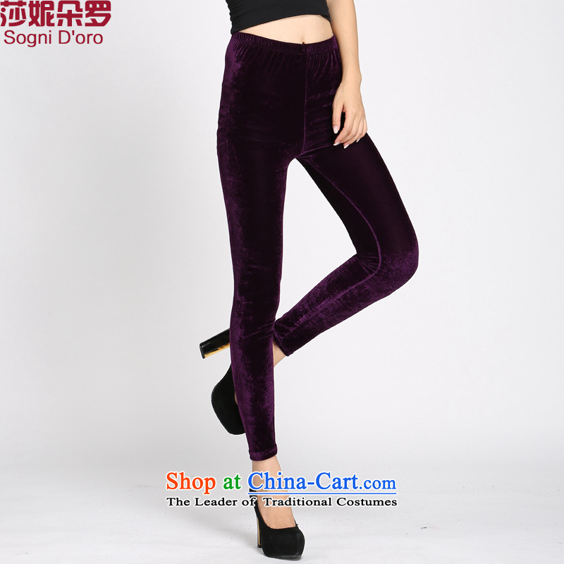 Shani flower, ladies pants autumn and winter trousers children video thin stretch elastic waist trousers Castor Leisure Wear Wool Pants Trousers, 4082 Kim聽5XL Purple
