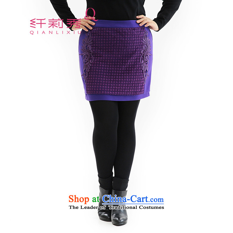 The former Yugoslavia Li Sau 2014 autumn large new Couture fashion engraving lace Sau San video and the upper body thin package short skirts Q6388 purple聽2XL
