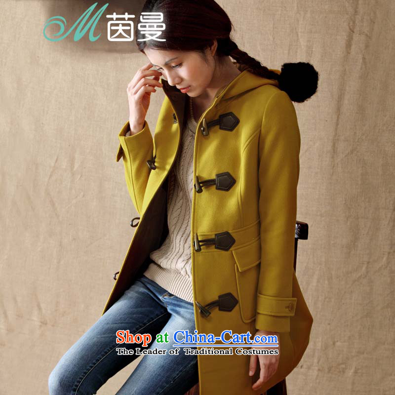 Athena Chu Cayman 2014 winter clothing in New Long Cap Gross Gross Jacket coat it? female yellow燣