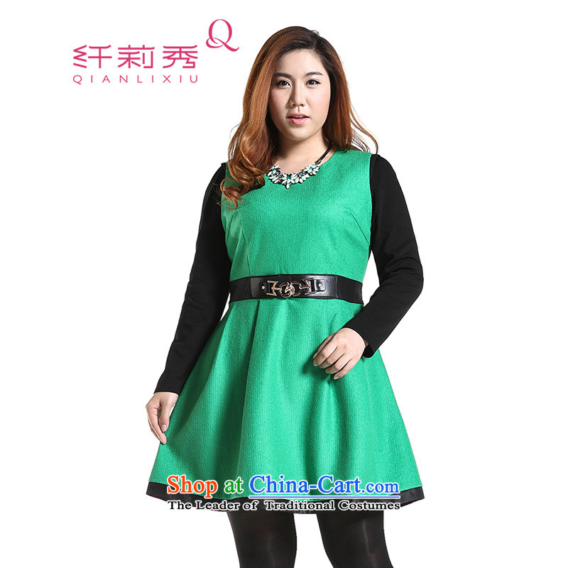 The former Yugoslavia Li Sau 2014 autumn and winter new larger Couture fashion color plane collision stitching PU round-neck collar leisure A swing gross? dresses燪6568爂reen�L