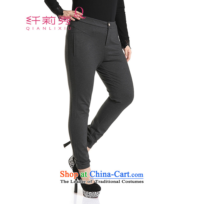 The former Yugoslavia Li Sau 2014 autumn and winter new larger female stylish skinny legs forming the Sau San video pencil Q6651 trousers Gray燣