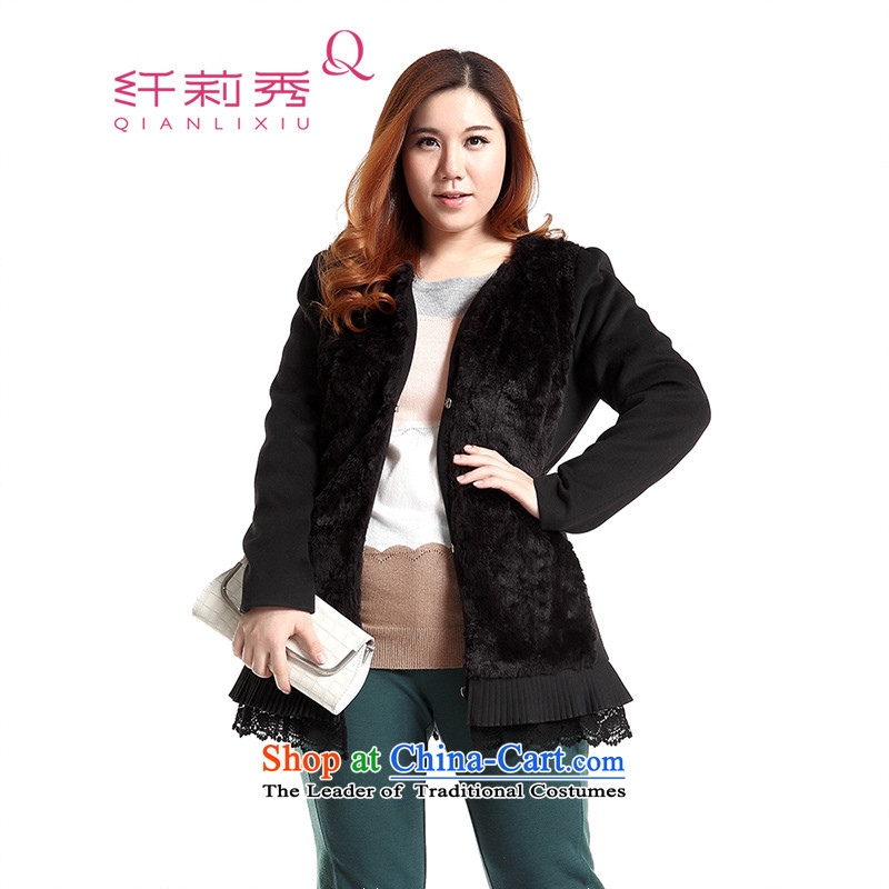The former Yugoslavia Li Sau 2014 autumn and winter new larger female Korean version of the emulator, rabbit hair stitching warm long-sleeved jacket Q6732 a BlackXL