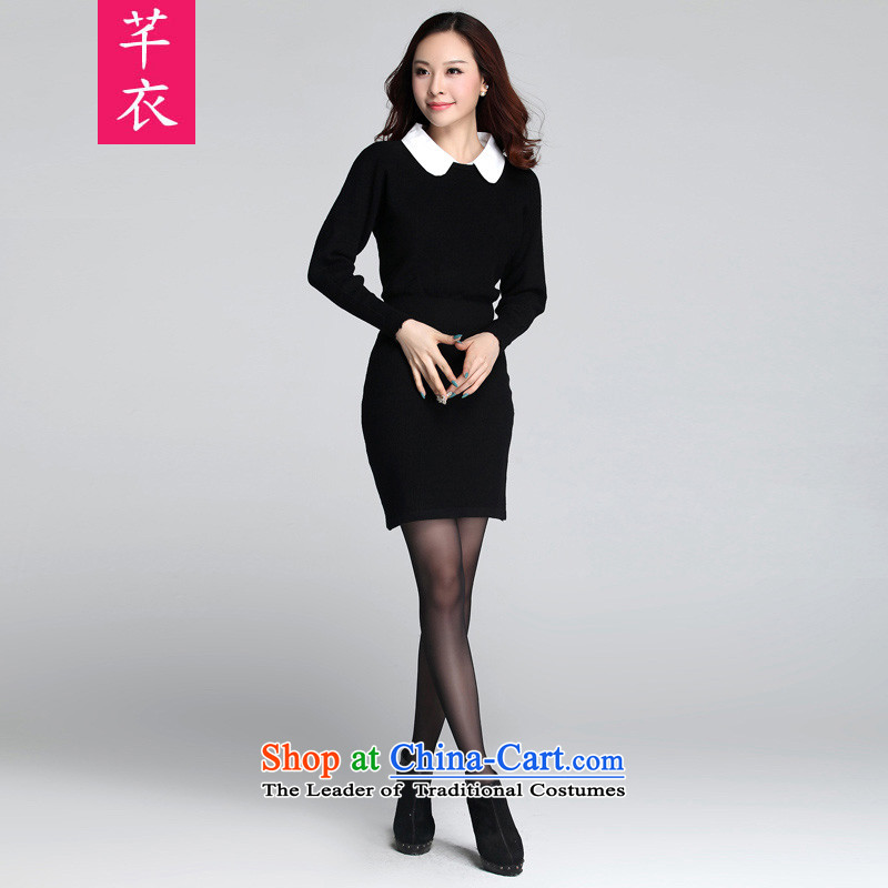 Thick sister women聽2015 NEW XL KUMABITO Fall_Winter Collections Western bat sleeves wear long woolen pullover knitwear suits black skirt Sau San聽3XL 165-185 catty