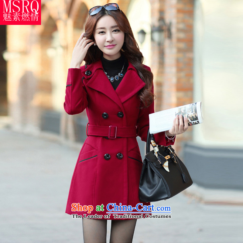 Staff of the fuel of?2015 Winter Korean women's large   New Products reverse collar double row is long sleek hair girl jacket coat? _feed belts_ Wine red?M