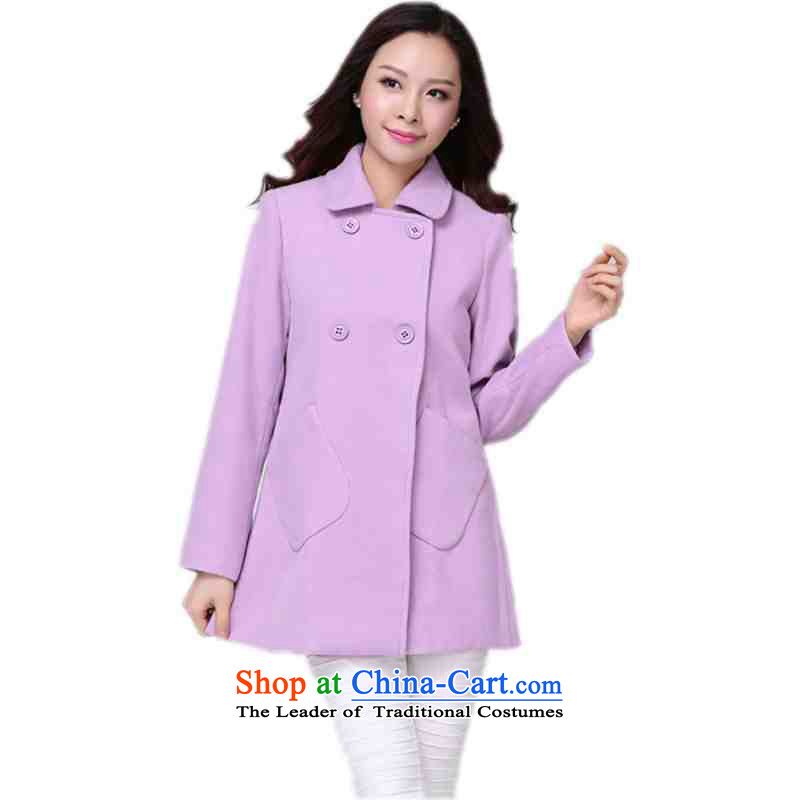 ? C.O.D. package mail as soon as possible the obesity mm Stylish coat 2015 Winter Olympics wool? Boxed New Leisure, double-elegant ladies in long-sleeved sweater long light purple XL approximately 130-140 catty