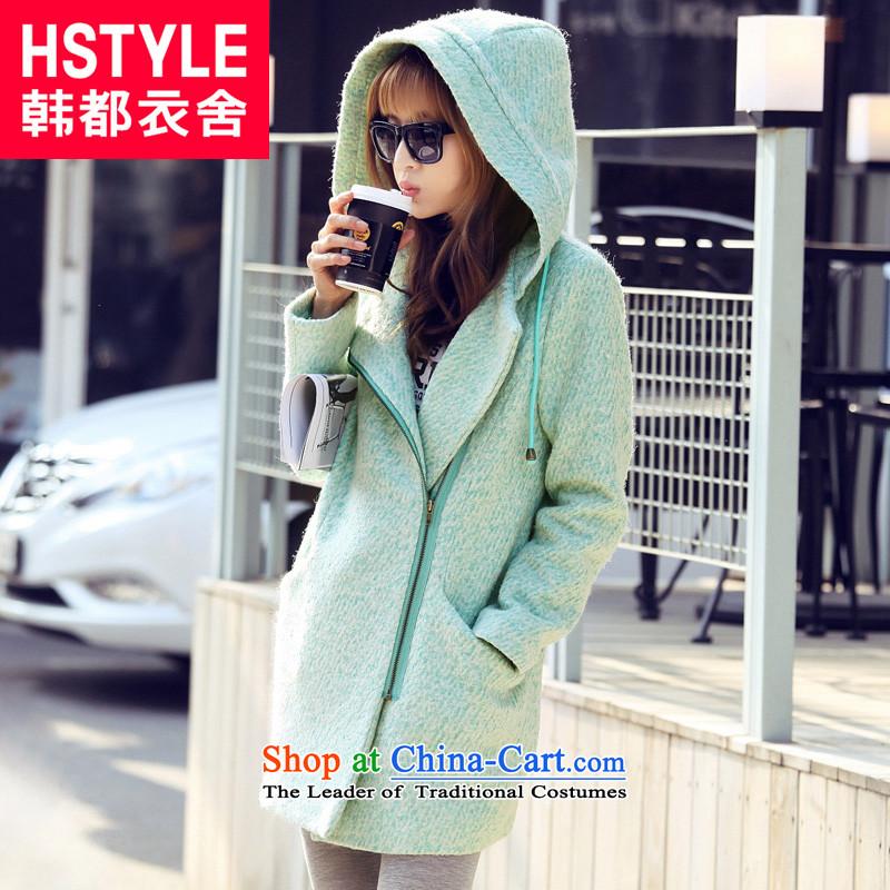 Korea has the Korean version of the Dag Hammarskjöld yi 2015 winter clothing new women with cap solid color in the long hair?2mint green jacket JM3309M