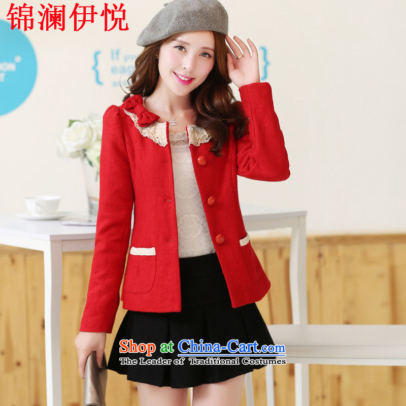 The world of Kam Yuet autumn and winter female Korean lady temperament elegant Korean short Fleece Jacket lovely small? Bow Tie engraving hook lace small business suit and a dress red L