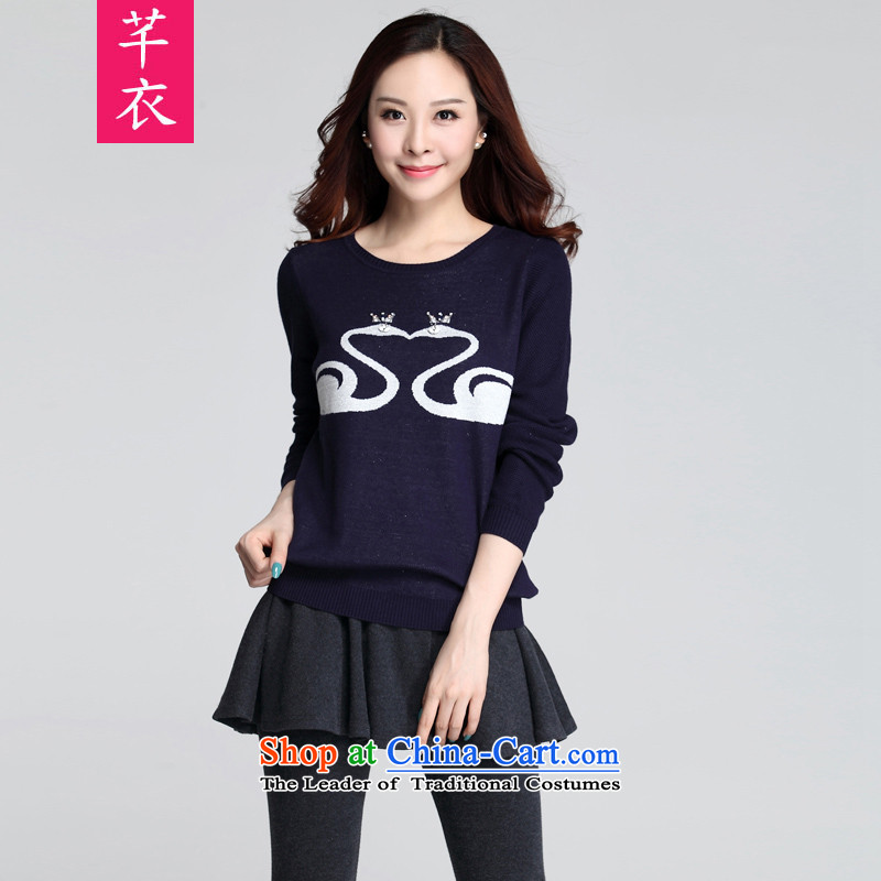 Xl T-shirts 2015 Fall/Winter Collections New Kumabito Korean small fresh long-sleeved round-neck collar woolen pullover thick mm Sau San leisure knitwear dark blue XL 120-140 catty