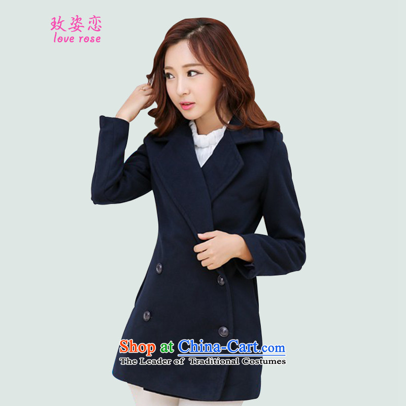 In 2014 Winter Land standing on a new Korean female jacket? gross edition fall_winter collections in the gross? Long slimming jacket gross coats female navy?燲L