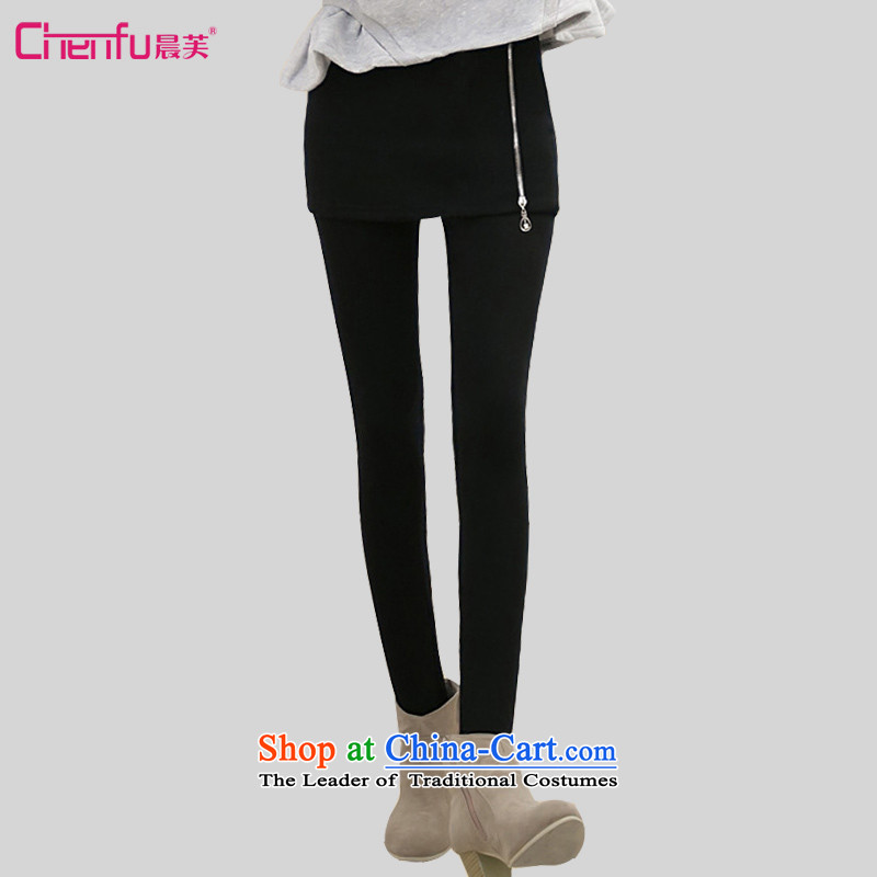 Morning to 2015 autumn and winter new Korean version of large numbers of ladies fashion Sau San video and the lint-free package thin thick not forming the lint-free Cleaning belts Skirt Wear pants zipper black2XL recommendations 135-150 catty