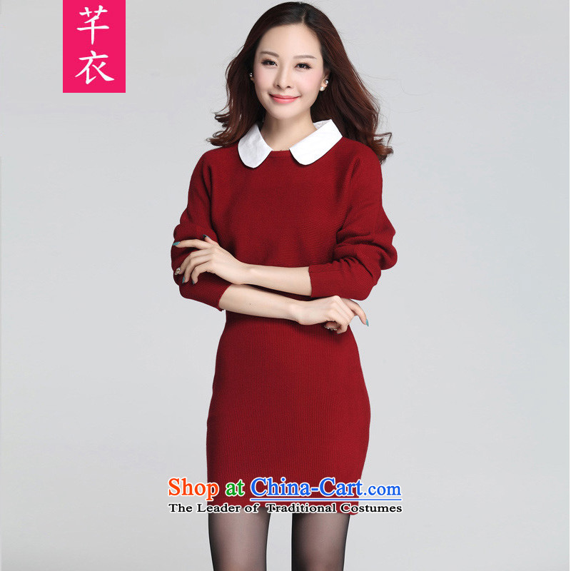 Thick mm female 2015 new kumabito xl winter clothing western bat sleeves wear long-sleeved woolen pullover Knitted Shirt package and Sau San dresses red can reference the chest option code or advisory service