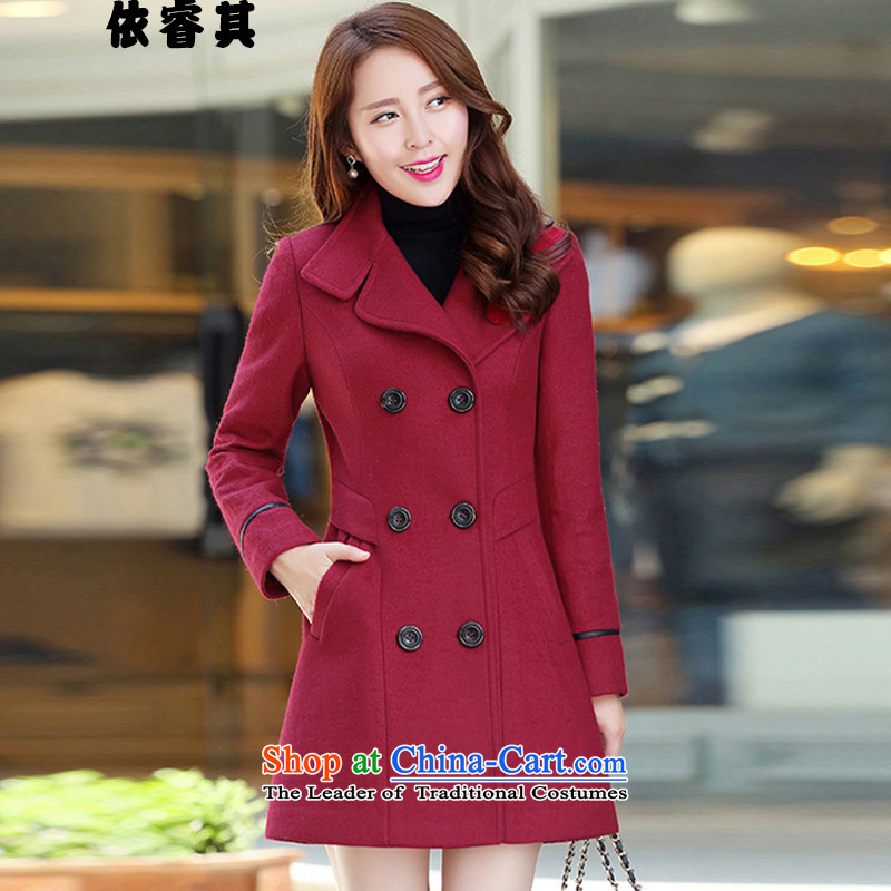 In accordance with the core of its 2015 winter clothing in Korean long hair Sau San? coats female video large thin a coat 8218 wine red M
