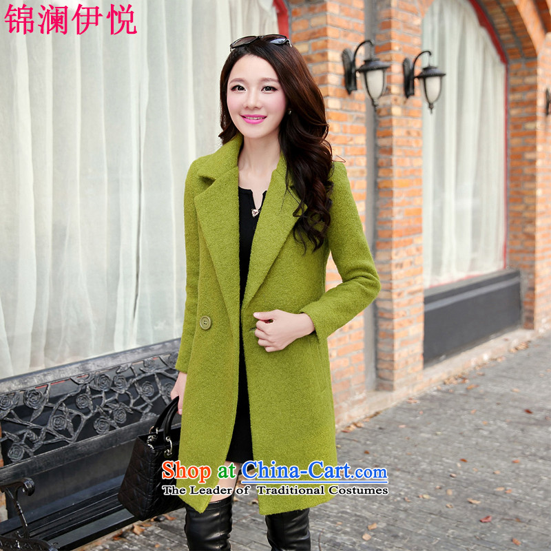 The world of Kam Yuet 2015 autumn and winter new trendy wild beauty video thin good looks for larger gross a wool coat female wind jacket suits green L