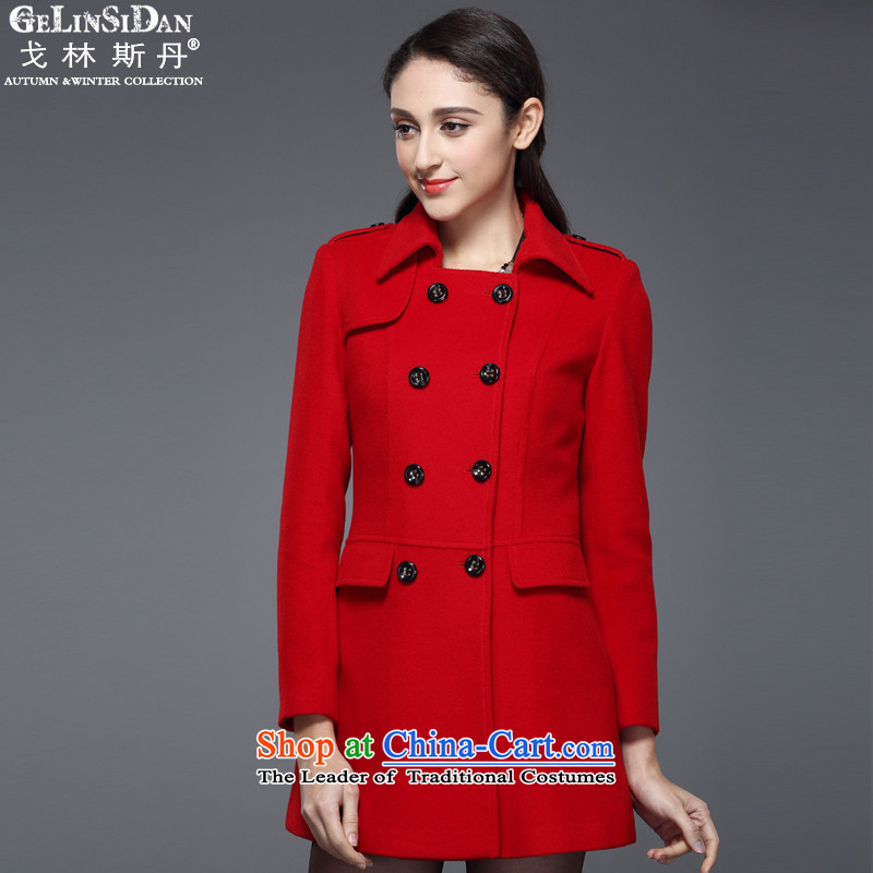 The Goring Dan autumn and winter special counter new female hair stylish Western Jacket coat? cashmere overcoat RD007 RED L_100