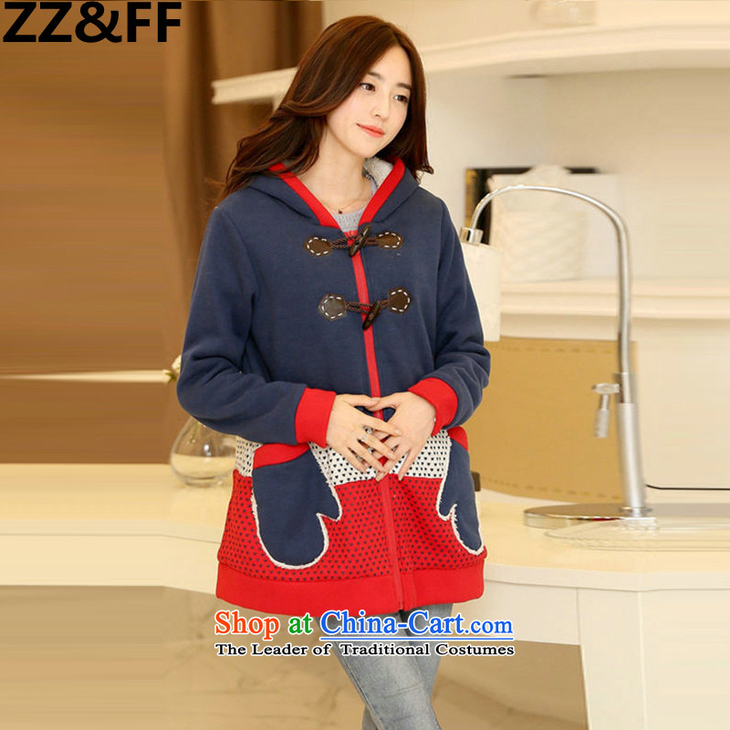 2015 Autumn add Zz_ff indeed intensify 200 catties MM thick cotton coat the lint-free Korean Modern blue燲XXL_ robe recommendations 175-200 catties_