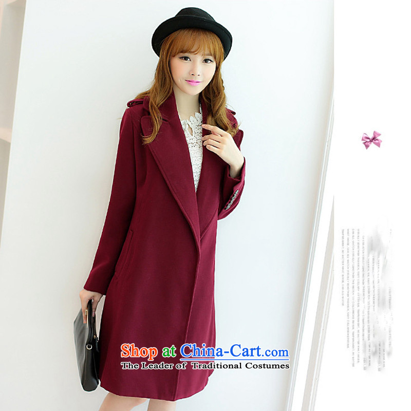 Dan Jie Shi�14 Fall_Winter Collections of the new Korean female jacket? wool decorated in relaxing in the thick Ms. long warm gross wine red cloak? female�2 XL