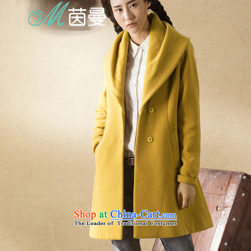 Athena Chu Cayman winter clothing new leisure minimalist wild max flip for long minimalist 8443211090 _Health jacket? Kang yellow L