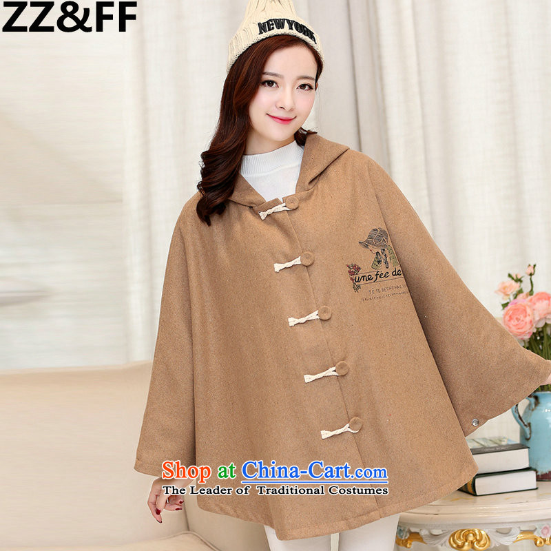 2015 Fall_Winter Collections Zz_ff new to increase women's burden of code 200 MM thick cloak A field jacket Korean relaxd a wool coat khakiXXL_ recommendations 150-175 catties_