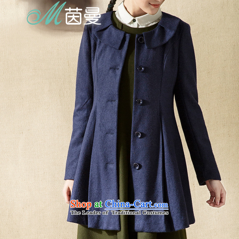 Athena Chu Cayman Net minimalist color drapes dolls collar workers in extracting long jacket _8443211341_?- Blue燬