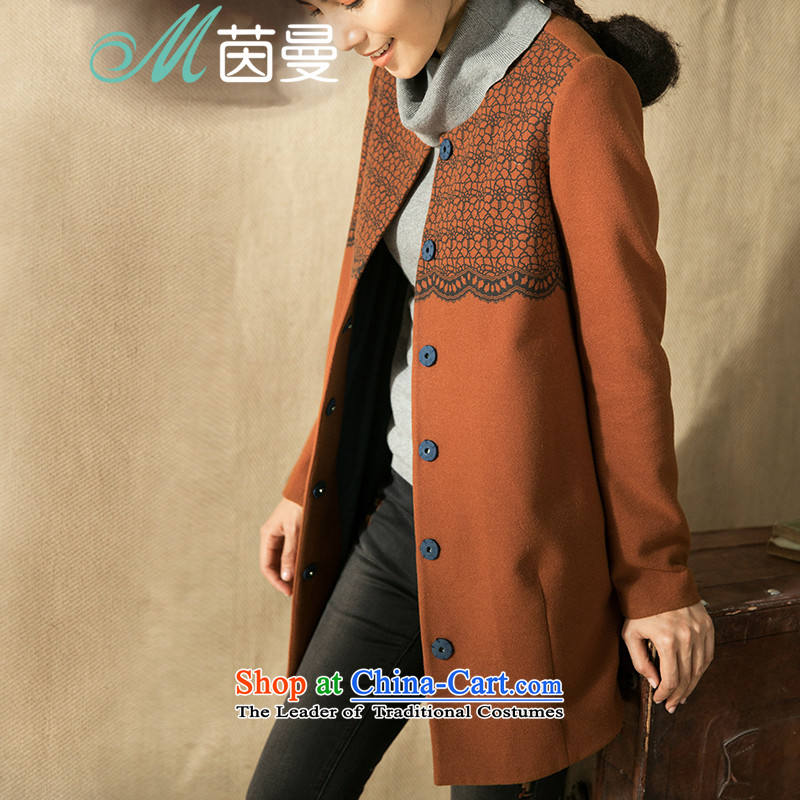 Athena Chu Cayman 2014 winter clothing new collision-color printing long neck)? overcoat elections as soon as possible dark orange 8443210760 L