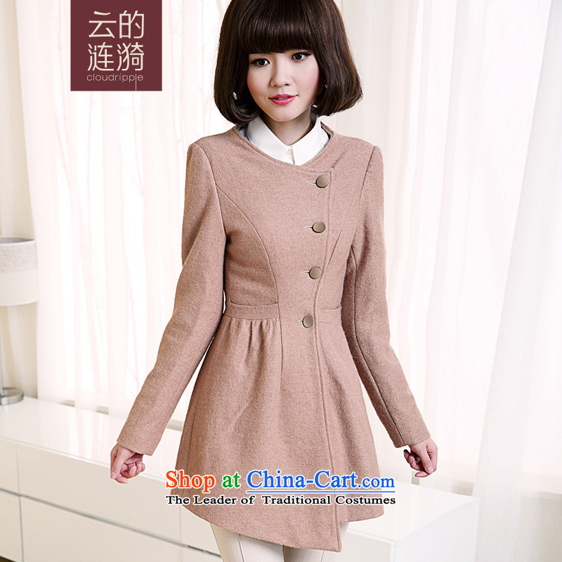 Cloud The ripple 2015 winter new gross fabric? classic round-neck collar warm jacket coat? female gross 4W72032 apricot XXL