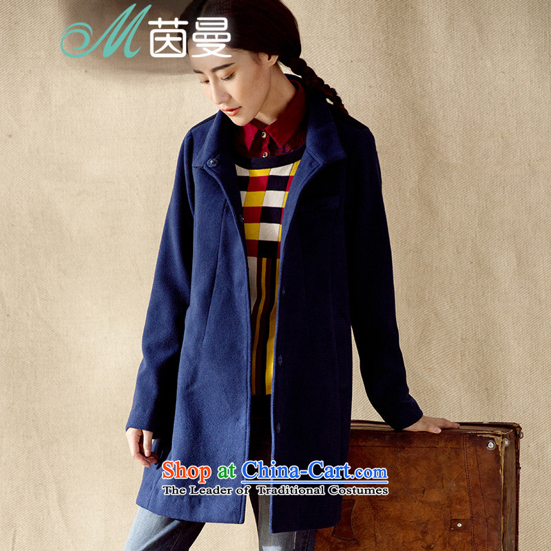 Athena Chu Cayman new minimalist net color woolen stitching stand collar in long jacket _8443211459_?- Blue?XL
