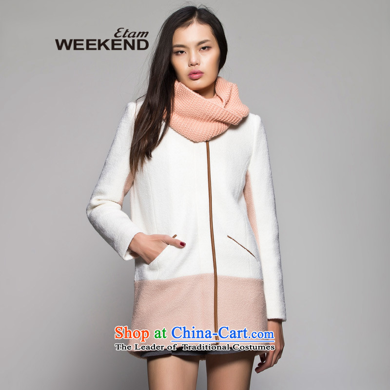 The?WEEKEND?winter?PU side round-neck collar stitching jacket this white?40_L 14022709186