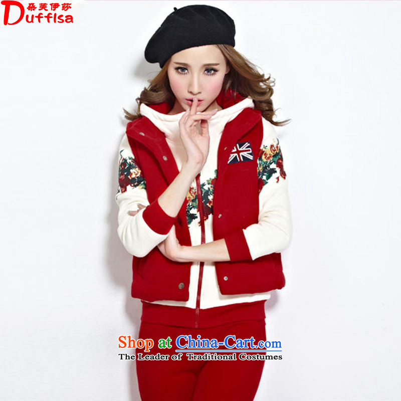 Flower to Isabelle�15 autumn and winter new Fat MM to xl sweater kits stylish stamp lint-free package female D7227燲XXXL red