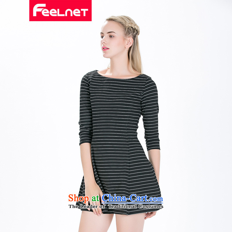 The European station 2015 feelnet fall_winter collections of European high-end temperament thick mm larger long-sleeved dresses 1477.. 6XL large carbon