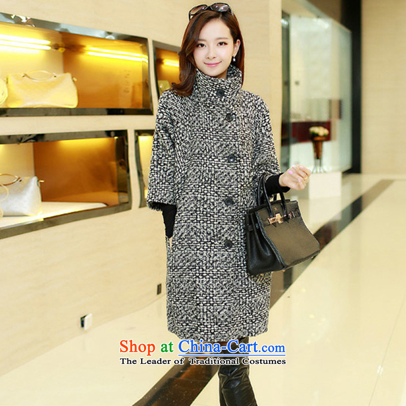 Dan Jie Shi autumn and winter new larger female Korean wool coat relaxd stylish thickened about Ms. leisure in long warm-ups gross? black and white coats female897 L