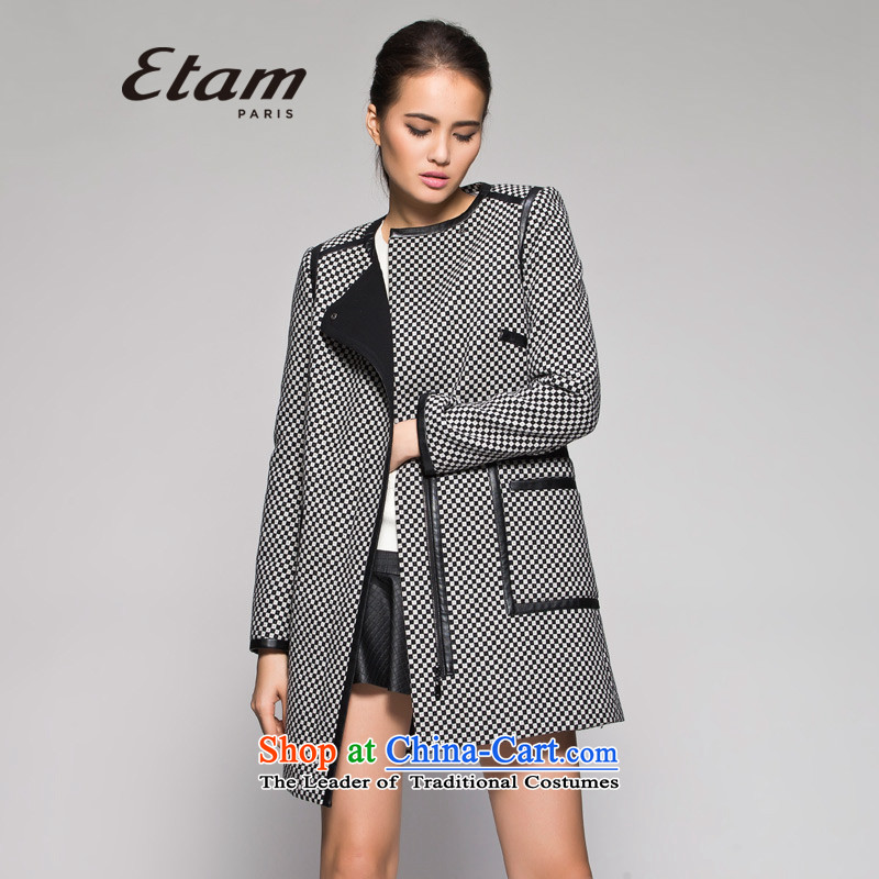 Etam聽ETAM聽winter classic Tartan Neck long coat 14013406395聽165_38_M black
