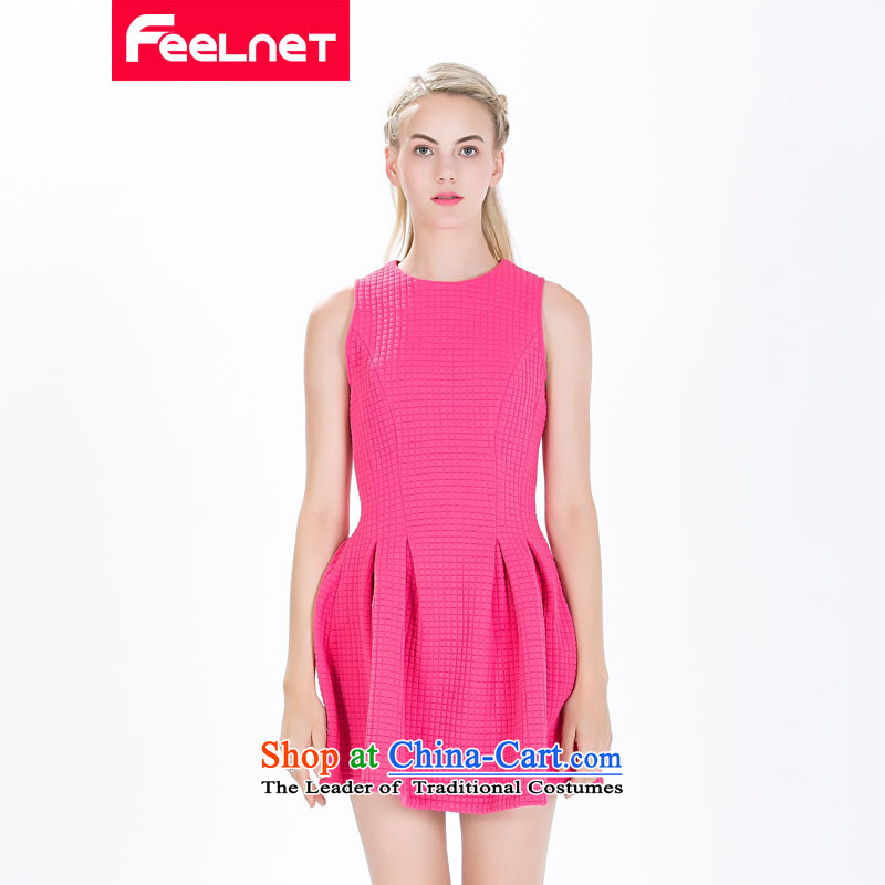 The skirt of Europe feelnet site new 2015 Fall_Winter Collections of European high-end temperament thick mm larger sleeveless dresses in large red 1490.. 3XL