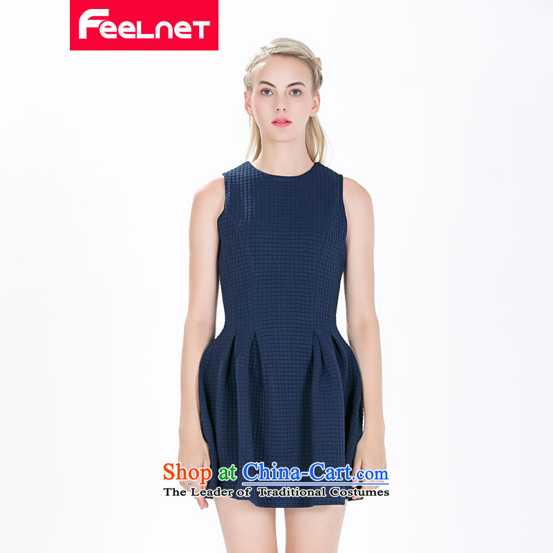 The skirt of Europe feelnet site new 2015 Fall/Winter Collections of European high-end temperament thick mm larger sleeveless dresses in large red 1490.. 3XL,FEELNET,,, shopping on the Internet