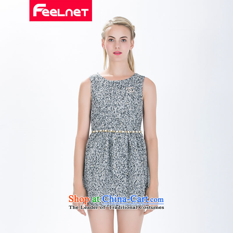 The European New Site feelnet XL WOMEN FALL 2015 Women's clothes in the OSCE High-end temperament thick mm larger sleeveless dresses large gray code 5XL116.