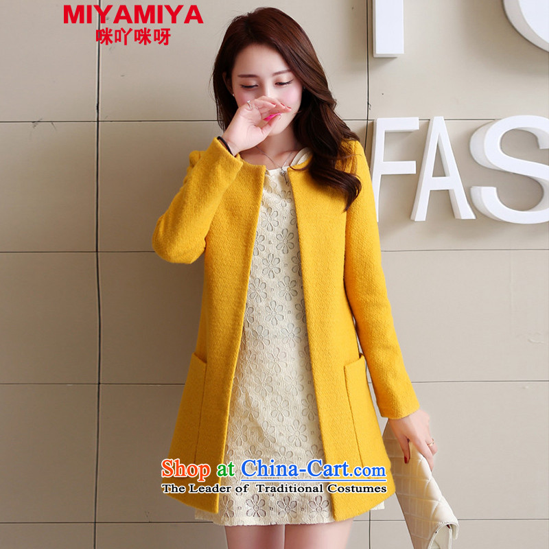 The quality of counters wool MIYAMIYA coats female Korean?   in the medium to long term of autumn and winter coats? Boxed coats female Yellow燤