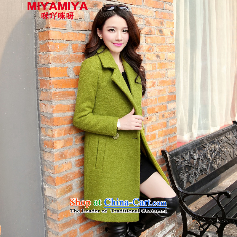 Gross coats women MIYAMIYA? for winter coats girl in Sau San long thick hair? jacket a wool coat female green燣 _Video young temperament_