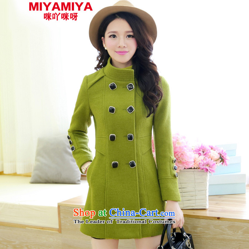 Miyamiya woolen coat autumn and winter new for women Korean collar double row is long hair? jacket a wool coat female bodhi green聽M