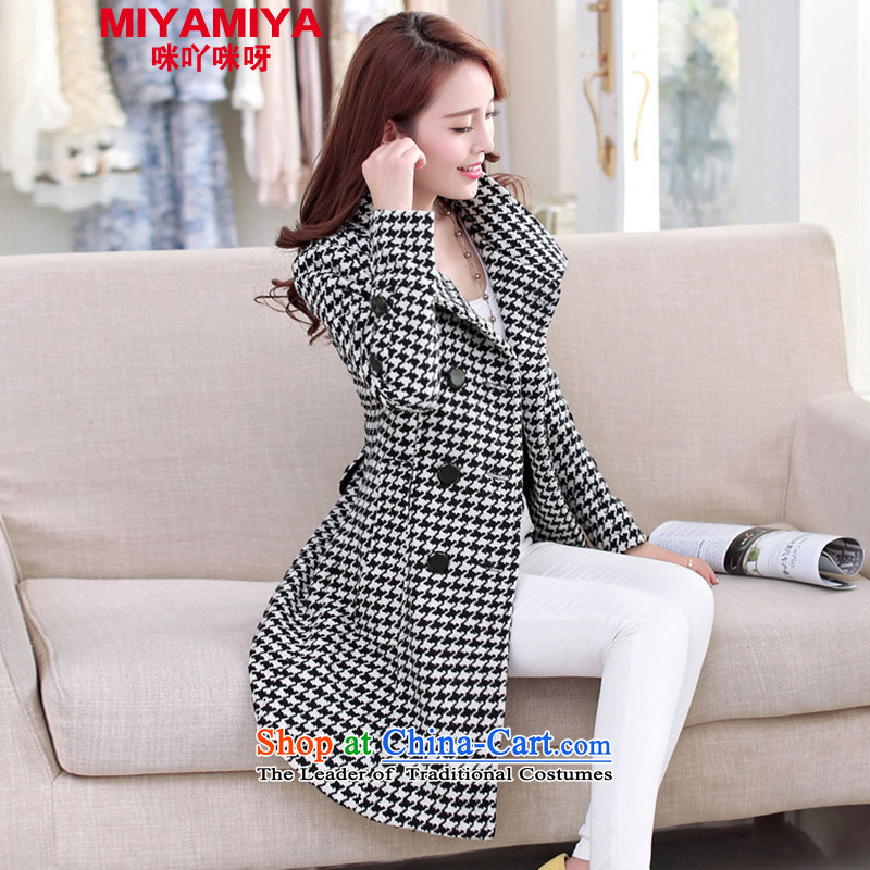 The Korean version of women MIYAMIYA Sau San double-checked in long hair fall and winter coats? female a wool coat of black-and-White燲XL