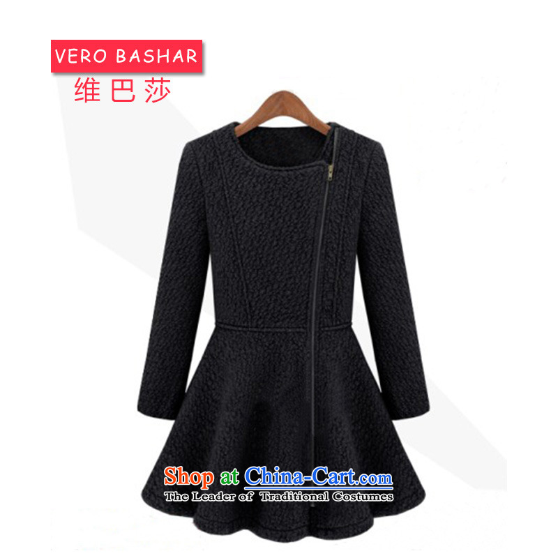 The Basha Western stars for women with ultra-type temperament round-neck collar side zip petticoats gross coats jacket Black燲L?