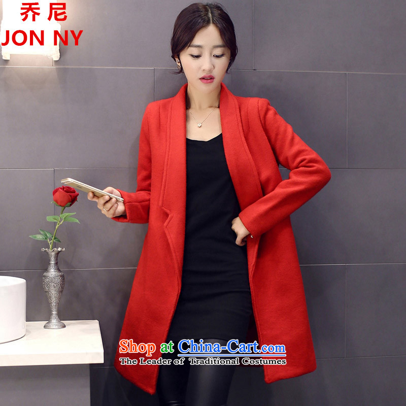 Cioni gross? 2015 autumn and winter coats female new Korean female decorated gross? graphics are overcoats in thin long a wool coat large red?L