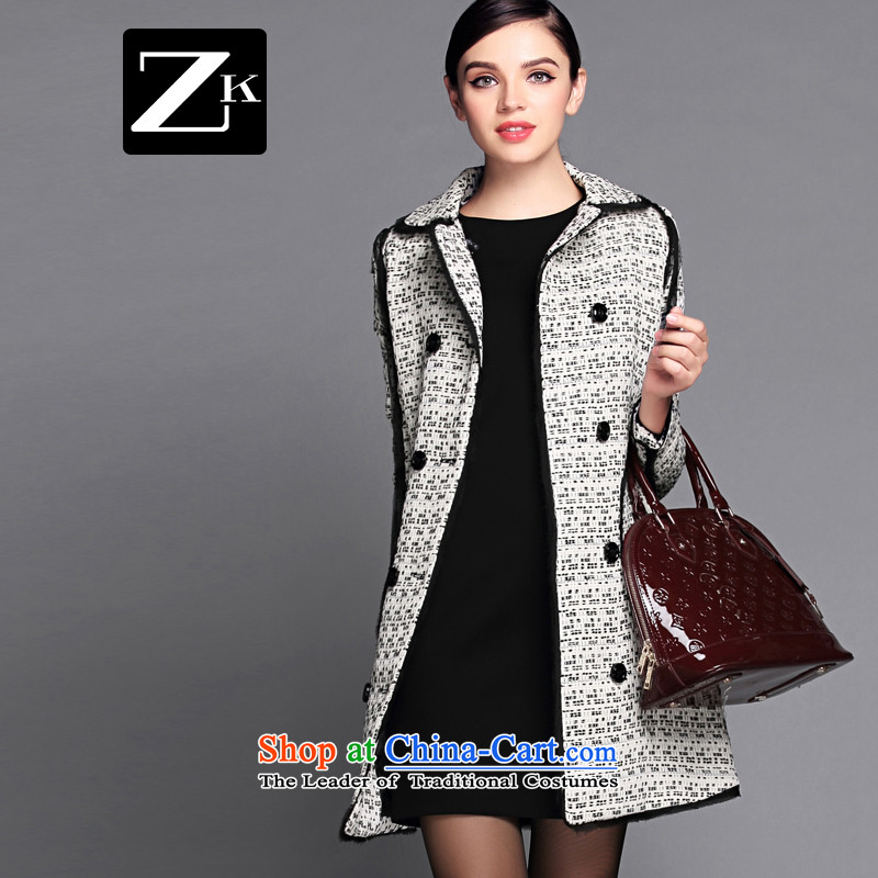 Zk Western women?2015 Fall_Winter Collections in new long hair?? jacket coat female gross a wool coat light gray?S