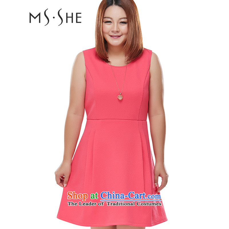 Msshe xl women 2015 Autumn replacing new thick mm round-neck collar Foutune of video thin A swing vest Skirts 7 666 West3XL red
