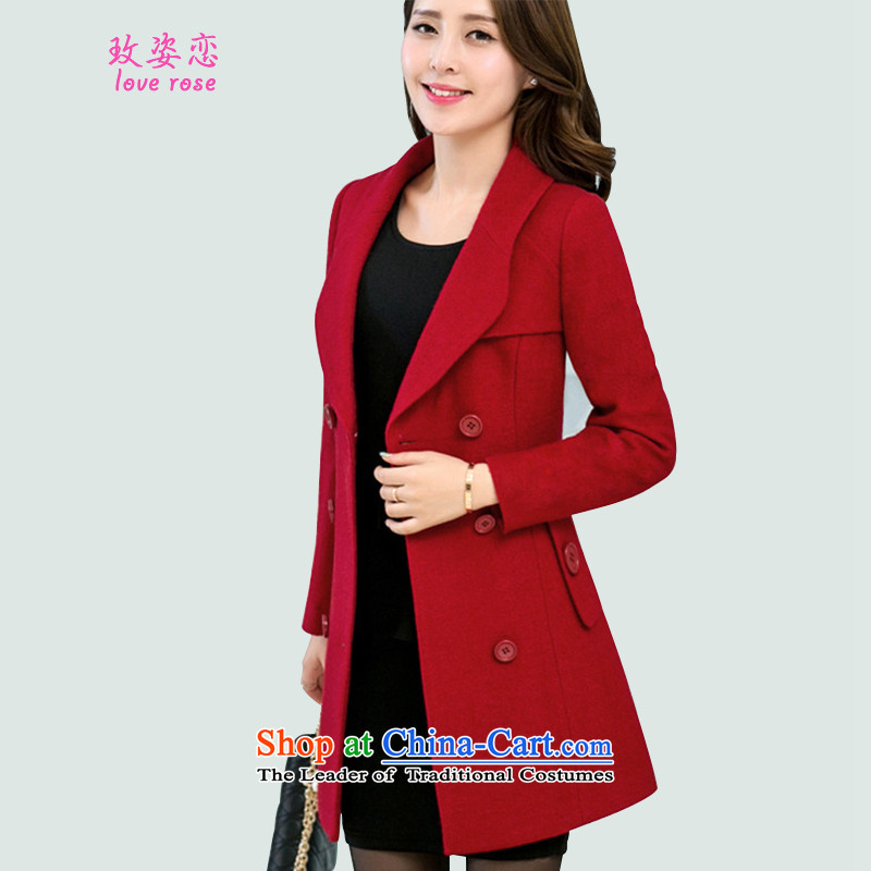 In 2014 Winter Land Gigi Lai new coats female Korea gross? Edition Fall_Winter Collections? jacket style of the Sau San gross in long hair? coats female wine red�L