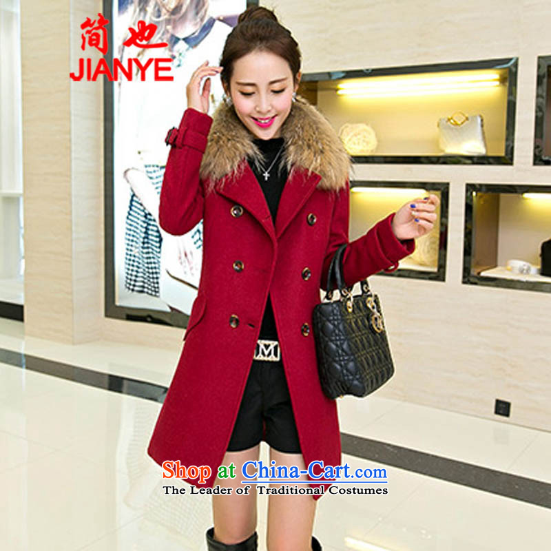 Jane can also� install the latest autumn and winter 2014_ Ms. Jacket Korean gross?   in the medium to long term for women coats 678_? wine red燣