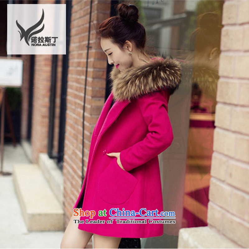 Noras Ding�14 autumn and winter new Korean female jacket is thick hair, Long, Sau San for cloak? female燦S002 coats gross爄n red燲XL