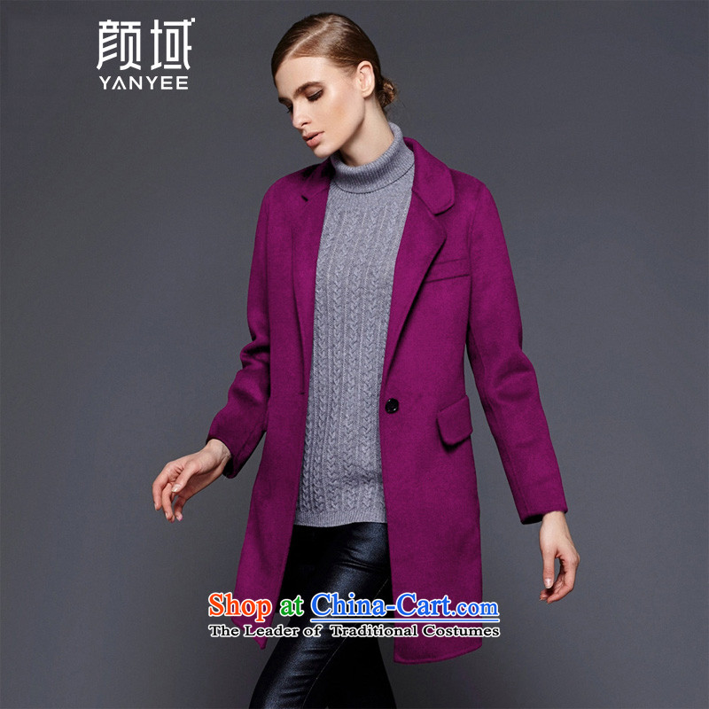 Mr NGAN domain 2015 autumn and winter new products V-Neck Jacket in gross? long-coats04W4662 AURICLEL/40 Purple