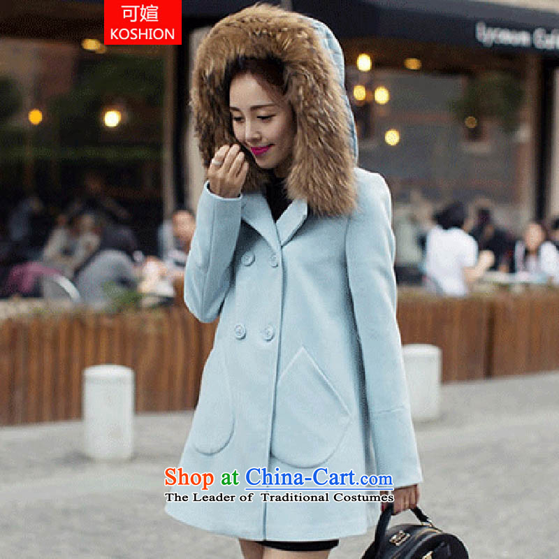 There can be new 2014 autumn and winter? in the medium to long term, gross jacket female larger thick double--6658 coats skyblue燬