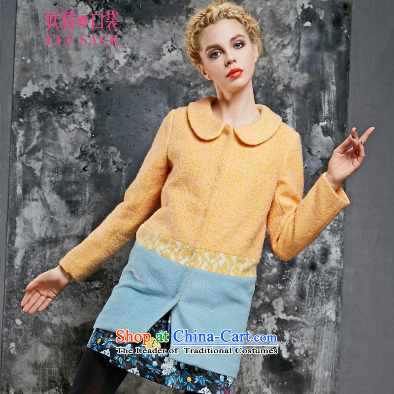 The pockets of witch sweet and Shibuya-kei Oi�15 spring outfits lace stitching knocked colors? coats�32120爌owder orange燣
